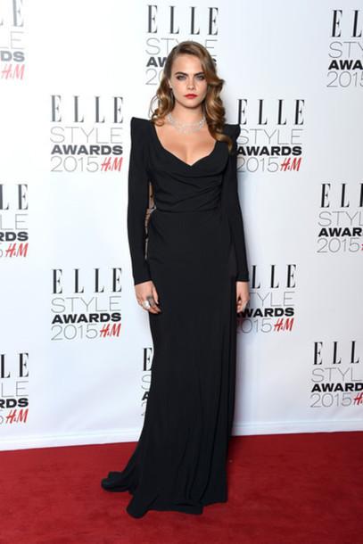 dress black gown cara delevingne red carpet dress