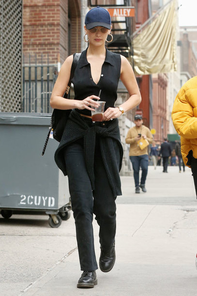 top streetstyle pants model off-duty cap bella hadid celebrity fall outfits