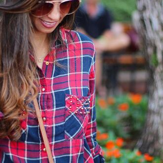 top plaid plaid shirt red blue studded studded top studded shirt red and blue