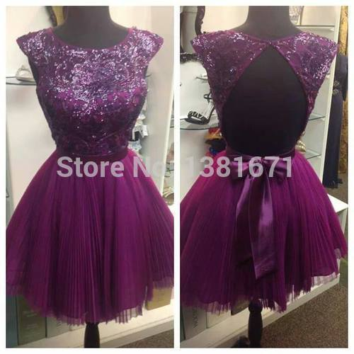 Aliexpress.com : Buy Real Picture Free Shipping Sequin Beaded Bodies Nice Purple Mini Pleated Cocktail Graduation Dress from Reliable beaded cocktail dress suppliers on Aojia Top Evening Dress