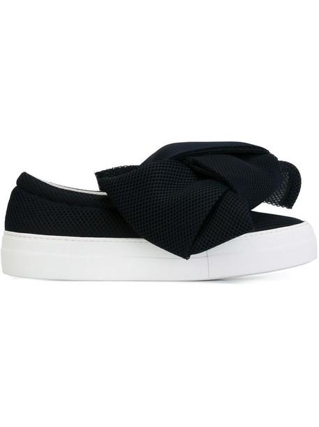 Joshua Sanders - mesh bow detail sneakers - women - Cotton/Leather/rubber - 35, Blue, Cotton/Leather/rubber