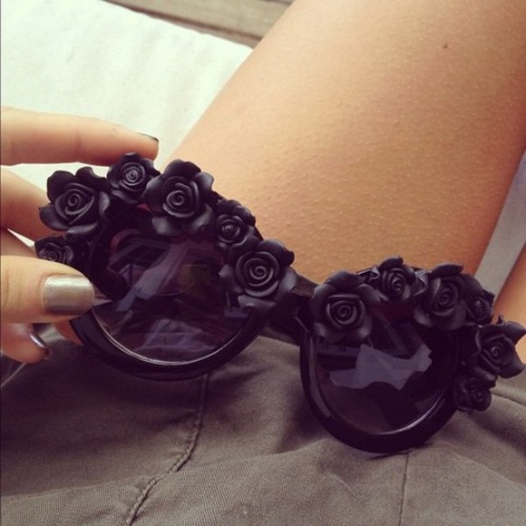 sunglasses round black shades roses sunnies flowers rose sunglasses black sunglasses weheartit rose flower cute