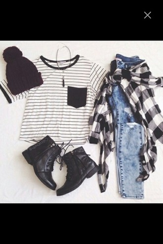 shirt hat pom pom beanie boots combat boots black black combat boots flannel shirt flannel jeans denim highwaisted jeans light blue light jeans ripped jeans crop tops top pocket t-shirt stripes striped shirt black and white outfit fall outfits paris striped top cropped crop t-shirt black and white shirt ootd fashion shoes blouse