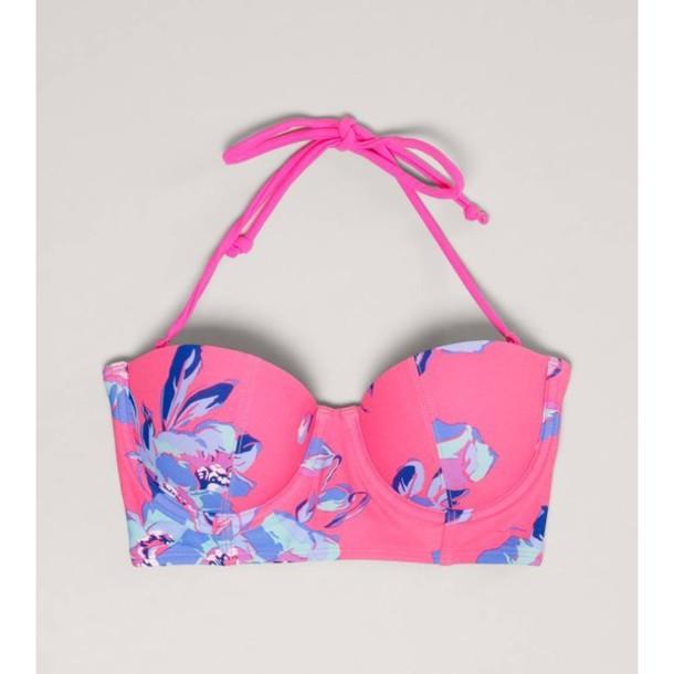 c7b18bacc4f swimwear, pink, bustier, bikini, tank top, flowers, flower bikini ...