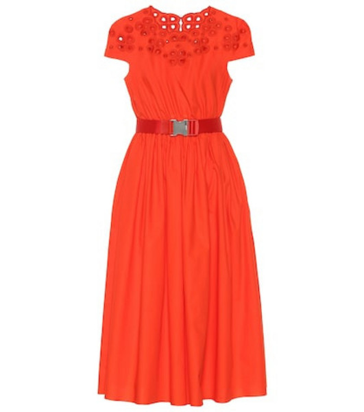 Fendi Belted cotton dress in red