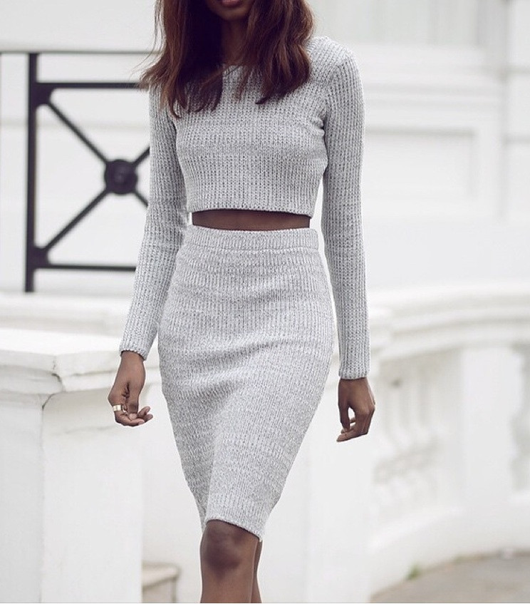 """dream on"" knitted midi pencil skirt cropped top set (3 colors availab – glamzelle"