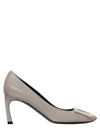 pumps leather light grey shoes