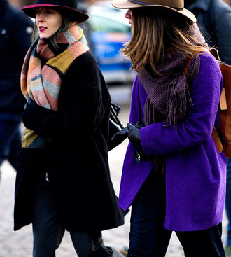 coat tumblr purple pants black pants gloves leather gloves black coat scarf hat fashion week 2017 winter outfits winter look