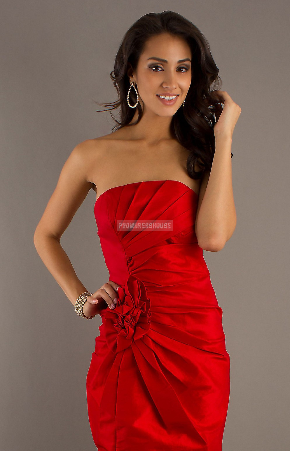 Red Strapless Short Length Sheath Taffeta Pleated Prom Dress - Promdresshouse.com