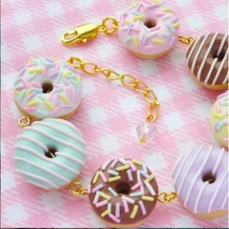 jewels donut bracelets cute gold kawaii