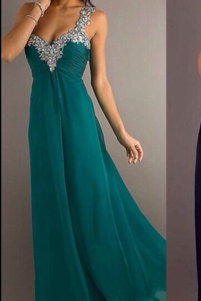 Dress Long Prom Dress Dark Turquoise Teal Sequin Prom Dress