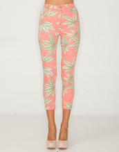 jeans,pink,tropical,tropical jeans,pink jeans,printed leggings,pants,tumblr,palm tree print,high waisted,exotic,green