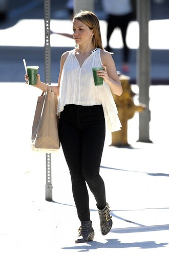 ankle boots sophia bush white top