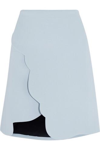 skirt scalloped skirt carven scalloped baby blue mini skirt