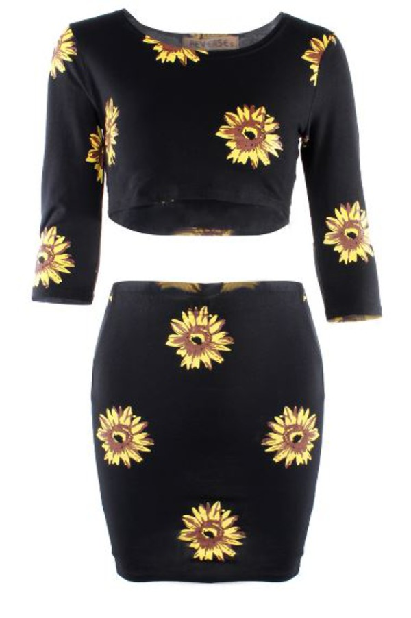 sunflower print sunflower dream closet couture 3/4 sleeve two-piece chic floral