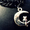 The luna cat choker - vintage tattoo black choker - silver cat on a crescent moon