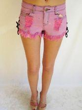 Women'S Reverse Pink Distressed Denim Shorts Size 9 | eBay