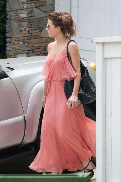5731860fe261 dress maxi dress peach kate beckinsale summer dress summer outfits chiffon dress  ruffle dress pink dress