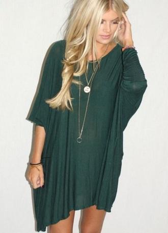 dress green dress flowy dress loose dress oversized oversized t-shirt loose fit loose tshirt