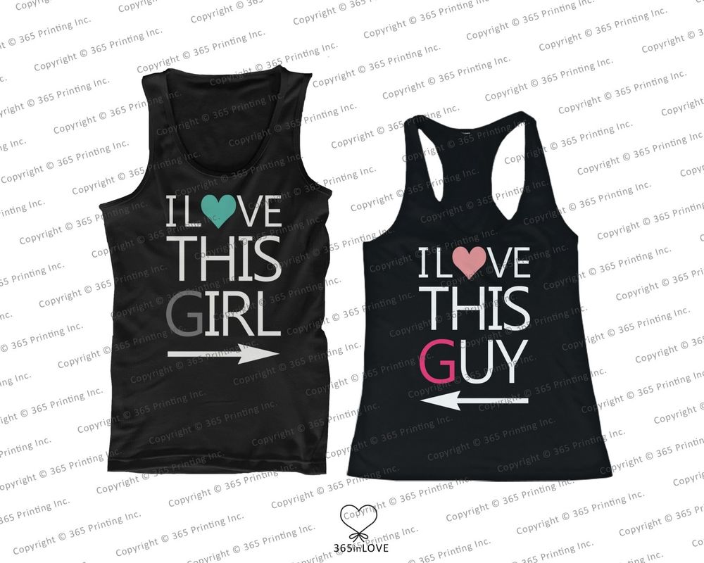 His and Her Couples Matching Tank Tops I Love This Guy and I Love This Girl | eBay