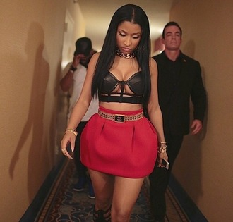 shirt skirt tank top nicki minaj black cut-out leather bralette red skirt chanel belt red
