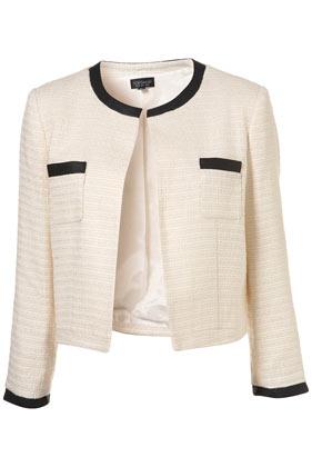 Ivory trim boucle jacket