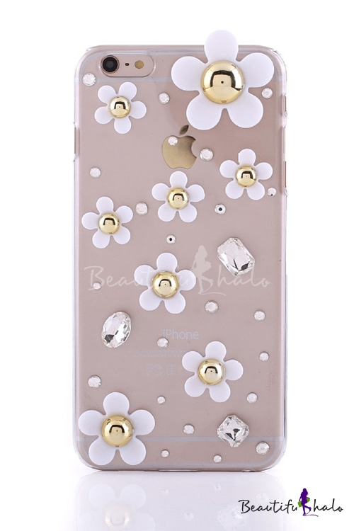 Fashion Ladies Petal Pattern Crystal Design Soft Case for iPhone