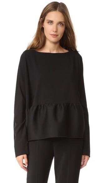 blouse long black top