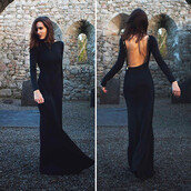 dress,black,zip,open back,gown,wide neck,maxi,long sleeves,black open back