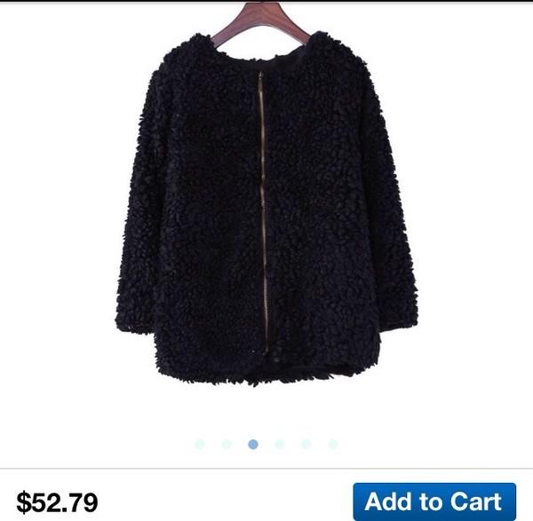 coat black faux fur coat