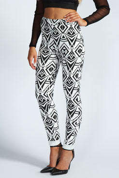 Evie Monochrome Aztec Side Zip Scuba Trousers at boohoo.com