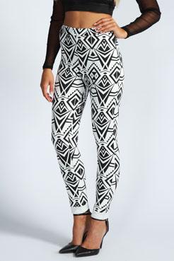 Evie Monochrome Aztec Side Zip Scuba Trousers at boohoo.com