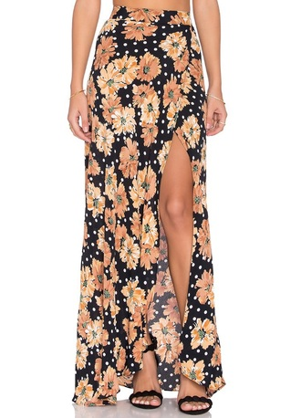 skirt floral leg slit flynn skye maxi skirt high waisted summer spring girly cute flowers