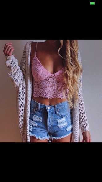 tank top flower lace tank top flower pink flowers pink crop top flower lace crop top lace crop top perfect girly shorts jeans