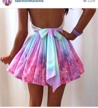 blouse tuck in white blouse open back skirt galaxy print pastel bows ombre tumblr