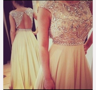 dress prom dress gold prom sparkle classic style