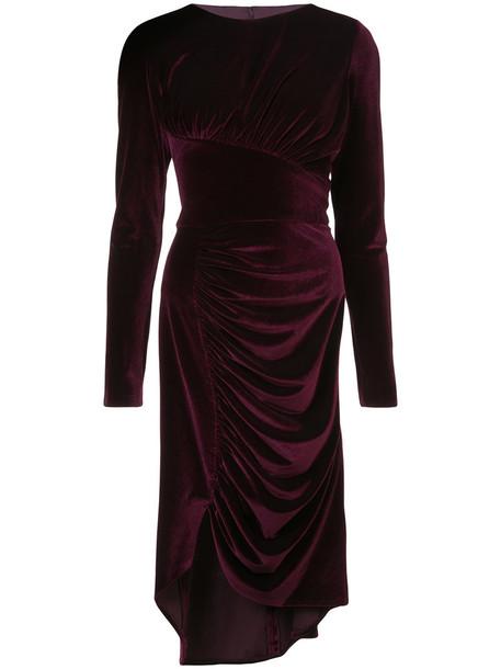 Christian Siriano dress slit dress women slit spandex silk purple pink