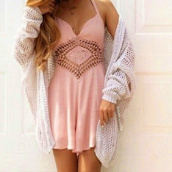 light pink cut-out cardigan white cardigan pink dress