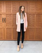 merrick's art // style + sewing for the everyday girl,blogger,coat,sweater,jeans,shoes,hat,cardigan,t-shirt,top,fall outfits,pink coat,grey sweater,black pants