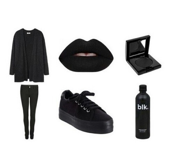 shoes goth black grunge cute emo goth platform sneakers creepers converse bag make-up all black everything
