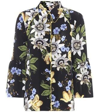 shirt floral silk black top