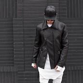 jacket,maniere de voir,coat,quilted,menswear,mens jacket,urban menswear,mens cap,mens ripped jeans