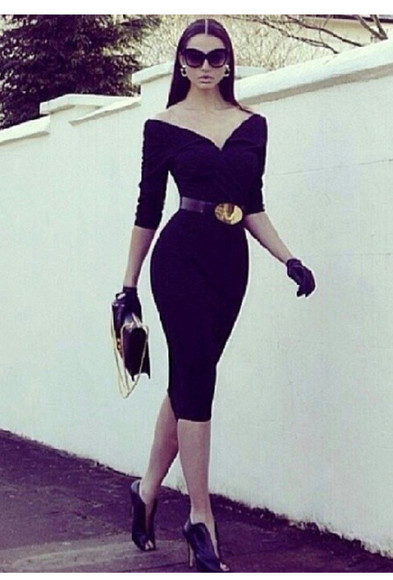 lively dress little black dress fashion sexy vintage dress classy Belt high heels