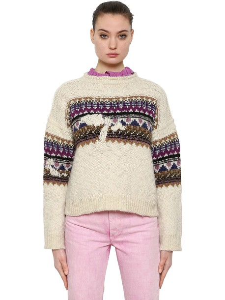 ISABEL MARANT ÉTOILE Wool Jacquard Knit Sweater in beige / purple / beige