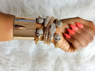 jewels bracelets bangles gold skull snakes ebony lace skull heads ebonylace.storenvy ebonylace-streetfashion