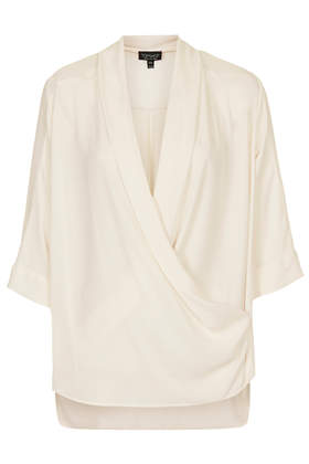 Sheer Panel Drape Front Blouse - Tops - Clothing - Topshop