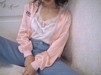 blouse pale pale ghetto pastel pink white encaje blue pants grunge cute