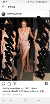 dress,adriana lima,beige,metallic,nude,gown,side split,formal event outfit