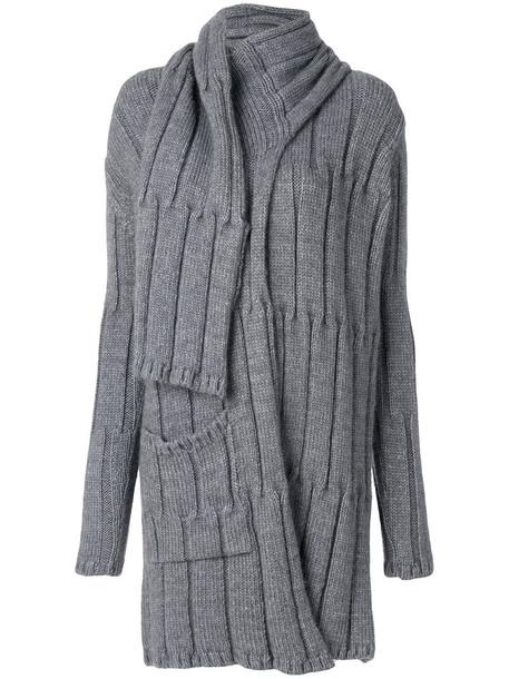 Lost & Found Rooms - scarf cardigan - women - Acrylic/Wool/Alpaca - S, Grey, Acrylic/Wool/Alpaca