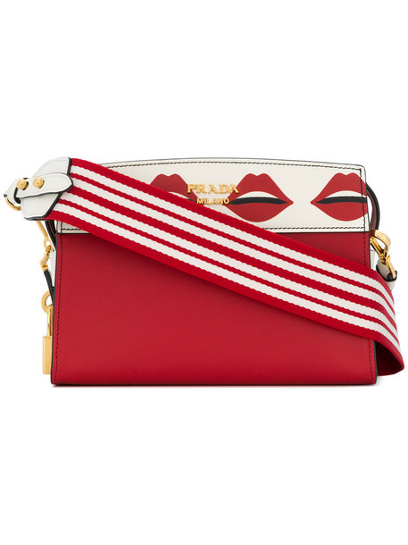 Prada women bag shoulder bag leather print red lip print